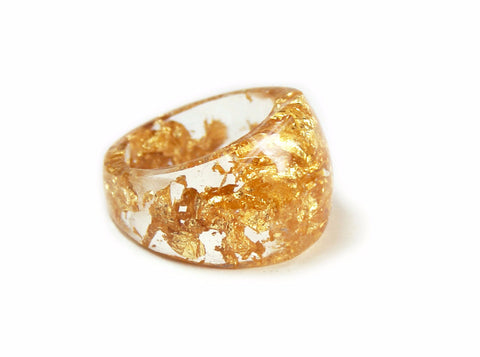 Sparkling Gold Flake Ring, sizes 5-9