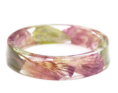 Tiger Lily Flower Petal Resin Bracelet