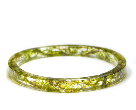 Thin Forest Moss Resin Bracelet