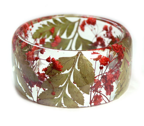 Red Flowers and Ferns Resin Bracelet
