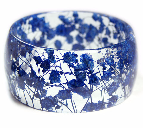 Wide Blue Flower Bracelet