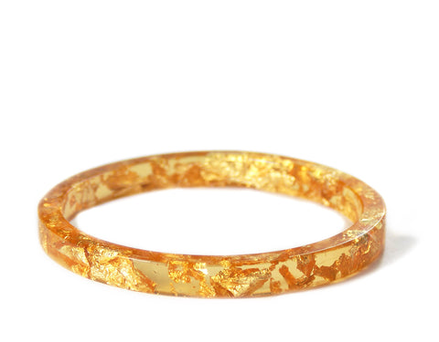 Gold Flake Stacking Resin Bracelet -- Yellow