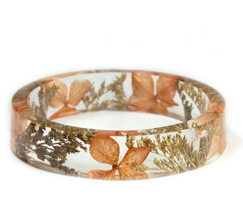 Peach and Gold Flowers Resin Bracelet
