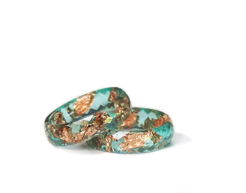 Teal and Gold Flake Resin Ring, Size 5-9