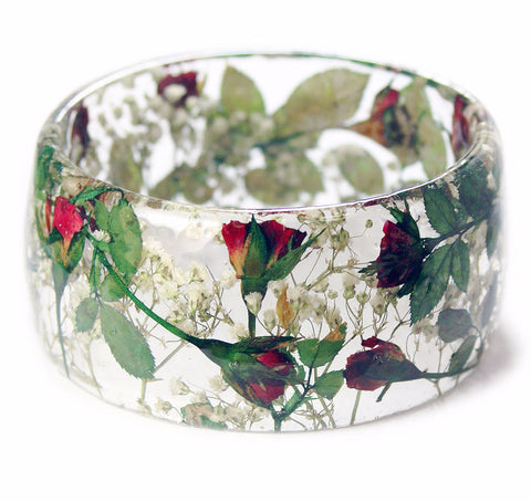 Wide Red Rose Bouquet Resin Bracelet