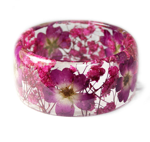 Pressed Pink Rose Resin Bracelet