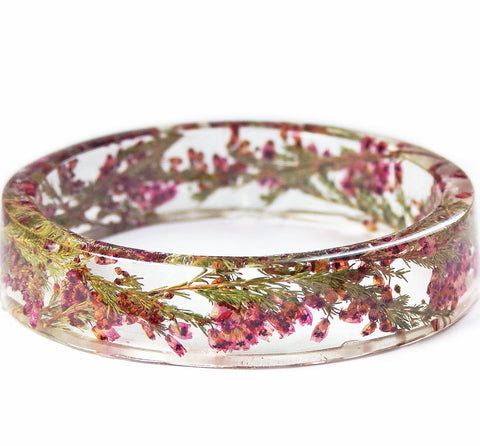 Heather Flowers Resin Bracelet