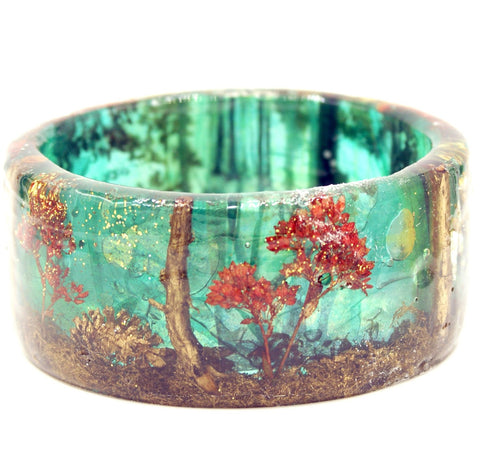 Teal and Gold Forest Bracelet