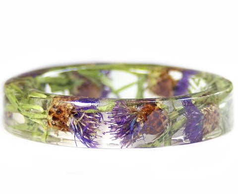 Thistle Flower Resin Bracelet