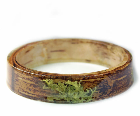 Lichen and Bark Resin Bracelet