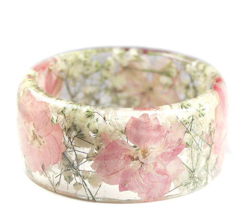 Soft pink flower resin bracelet mightylinksfo