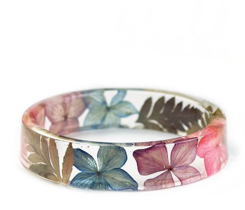 Hydrangea Flower and Fern Resin Bracelet