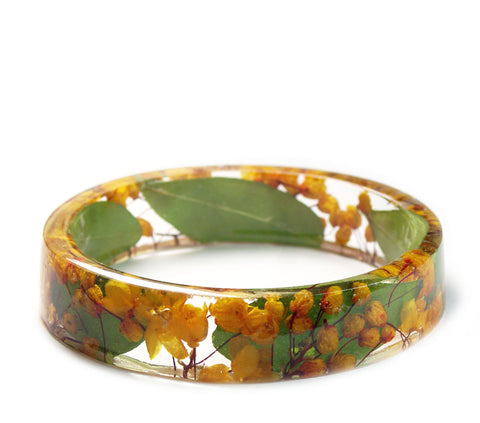 Orange Flower Vine Resin Bracelet