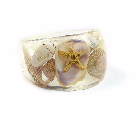 Summer Seashell Ring, Sizes 5-9
