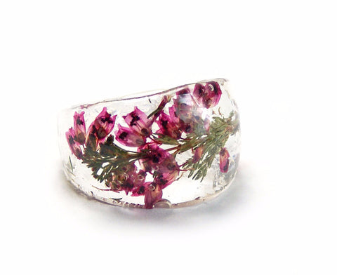 Pink Heather Flower Ring, Sizes 5-9