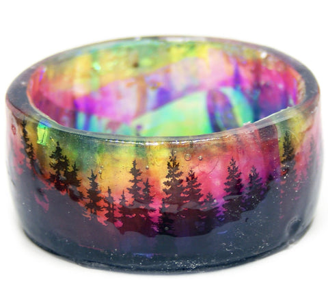Rainbow Night Forest Resin Bracelet