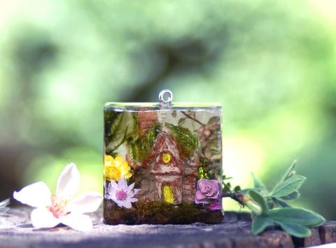 Fairy Cottage Resin Pendant