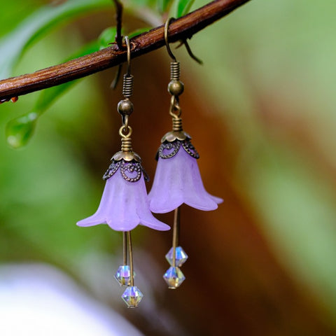 Lilac Fairy Flower Earrings