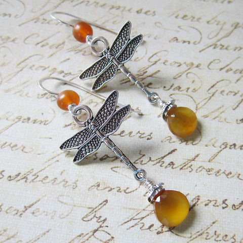 Dragonfly in Amber: Amber and Chalcedony Earrings