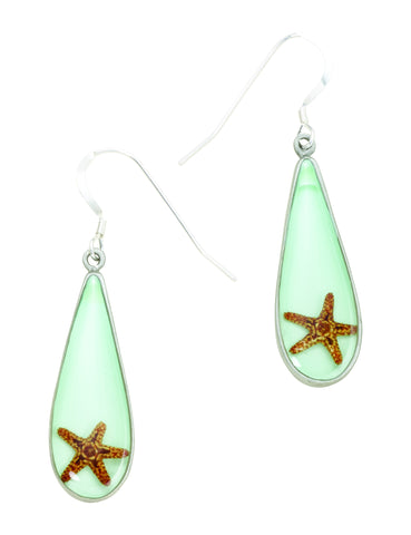 Starfish Teardrop Wire Earring