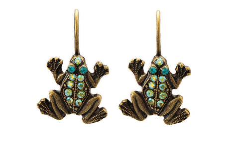 Pave Frog Eurowire Earrings