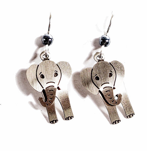 Elephant - Hand Painted Copper Earrings