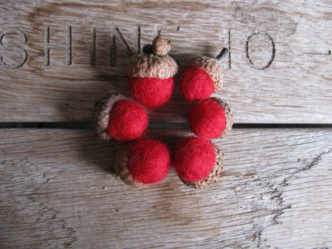 Felted Wool Acorns - Red