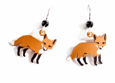 Fox - Whimsical Hand Painted Copper Earrings