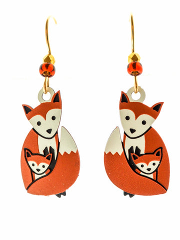 Fox with Baby Earrings