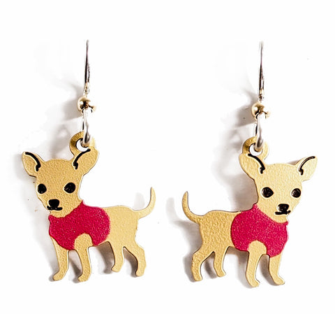 Girl Chihuahua Earrings- Hand painted copper!