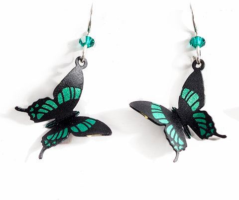 Green Butterfly Hand Painted 3D Earrings!