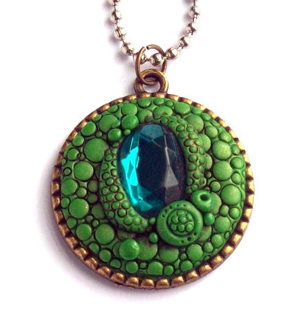Green Scale Dragon Pendant with Turquoise Cabochon