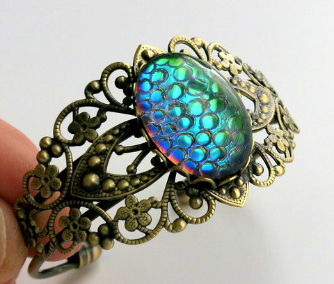 Filigree Cuff Bracelets with Green Dragon Scale Gem