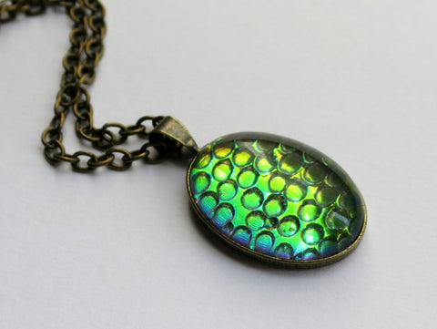 Helio Green Dragon Scale Pendant