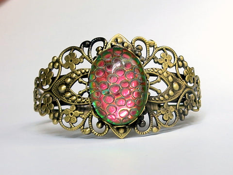Filigree Cuff Bracelets with Pink Dragon Scale Gem