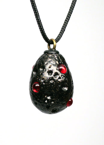 Black Dragon Egg Pendant with Gold Sparkles