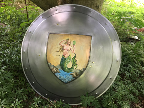 Handcrafted, Hand Painted Mermaid Shield by Baltimore Knife and Sword