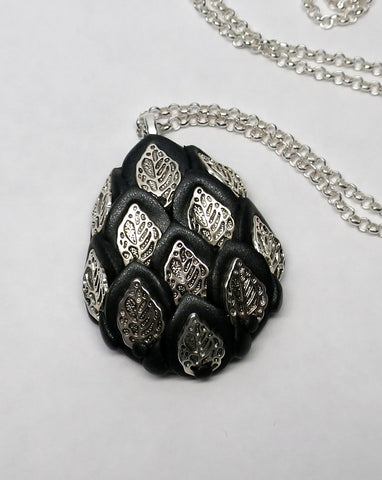Black and Silver Royal Dragon Egg Pendant