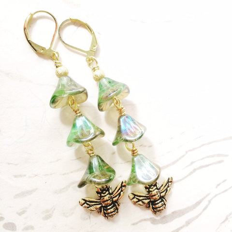 Green Bee Goddess Earrings