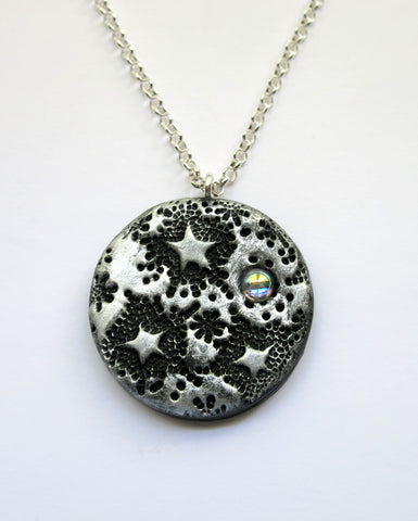 Large Round Starlit Dreams Celestial Pendant