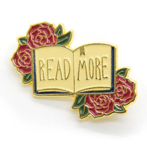 """Read More"" Gold Enamel Pin"