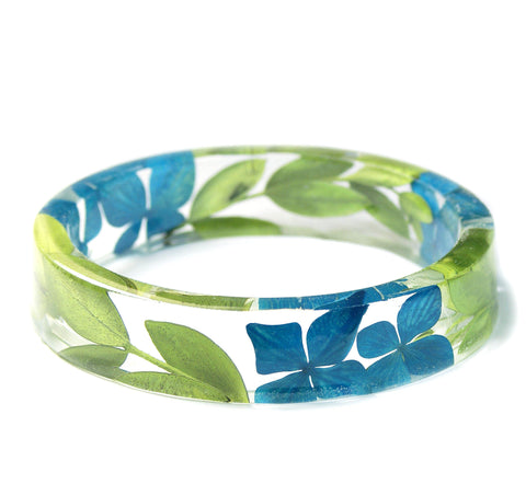 Turquoise Flower and Green Leaf Resin Bracelet