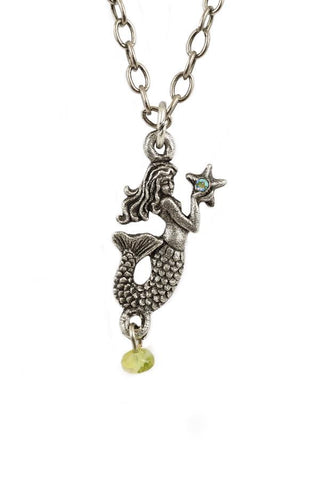 Mermaid and Starfish Pendant Necklace