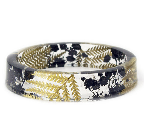 Black Flower and Gold Fern Resin Bracelet