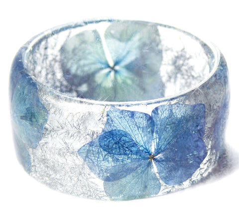 Blue Winter Flower Resin Bracelet