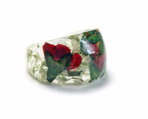 Red Rose Bouquet Ring, sizes 5-9