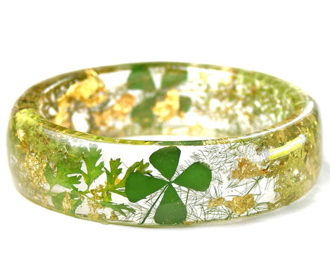 Gold and Clover Resin Bracelet