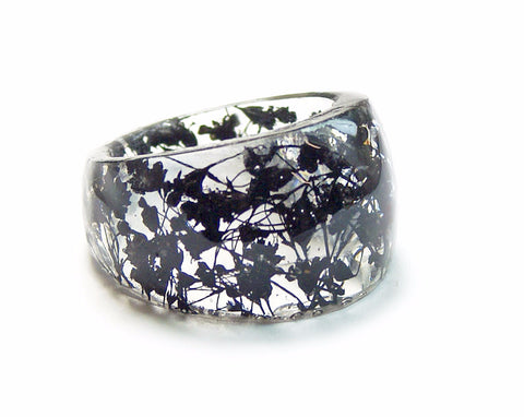Black Flower Ring, Sizes 5-9