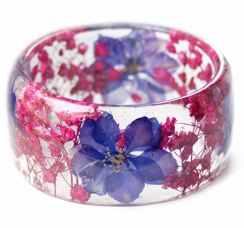 Pink and Purple Flower Resin Bracelet