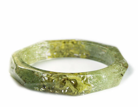 Faceted Forest Lichen Resin Bracelet